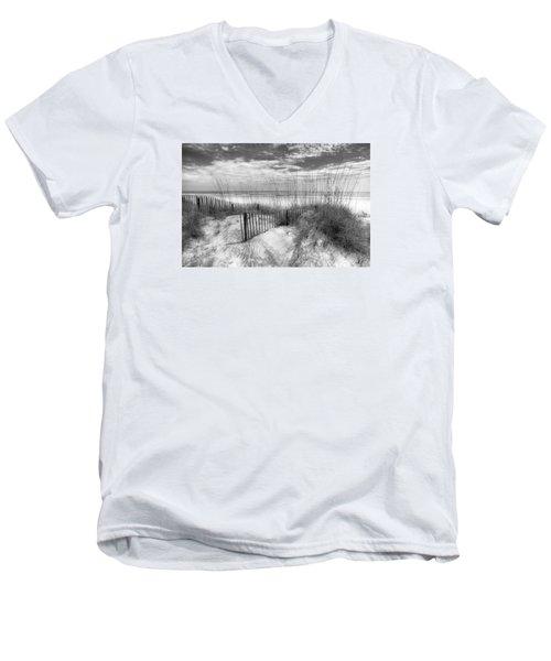 Dune Fences Men's V-Neck T-Shirt by Debra and Dave Vanderlaan