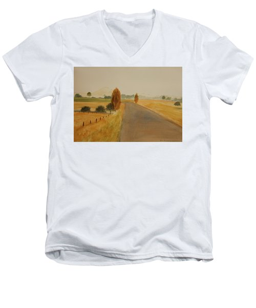 Men's V-Neck T-Shirt featuring the painting Dungog Area Nsw Australia by Tim Mullaney