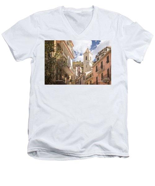 Duomo Bell Tower Of Manarola Men's V-Neck T-Shirt
