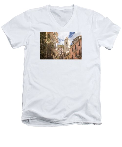 Duomo Bell Tower Of Manarola Men's V-Neck T-Shirt