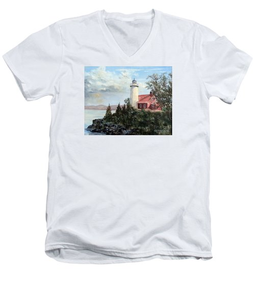 Men's V-Neck T-Shirt featuring the painting Eagle Harbor Light by Lee Piper