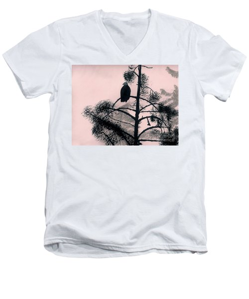 Men's V-Neck T-Shirt featuring the drawing Eagle In Pink Sky by D Hackett