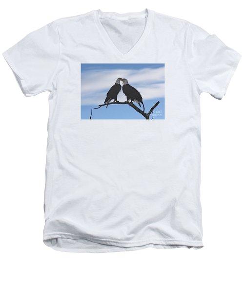 Eagle Love Men's V-Neck T-Shirt by Bob Hislop