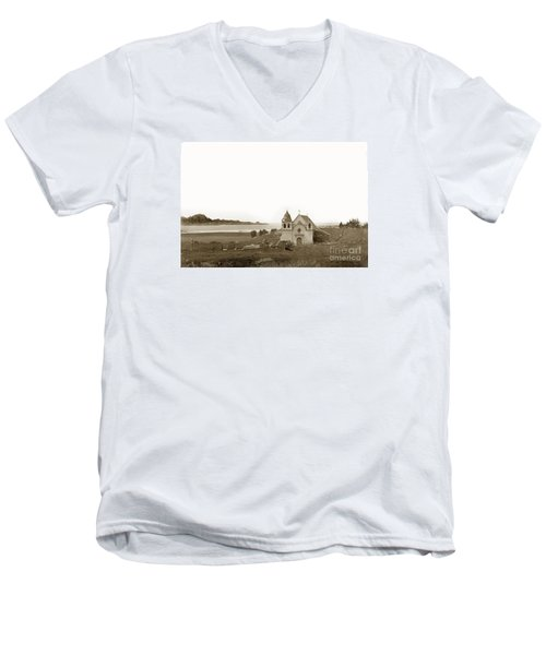 Early Carmel Mission And Point Lobos California Circa 1884 Men's V-Neck T-Shirt by California Views Mr Pat Hathaway Archives