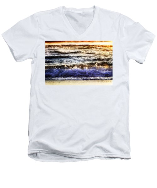 Early Morning Frothy Waves Men's V-Neck T-Shirt by Amyn Nasser