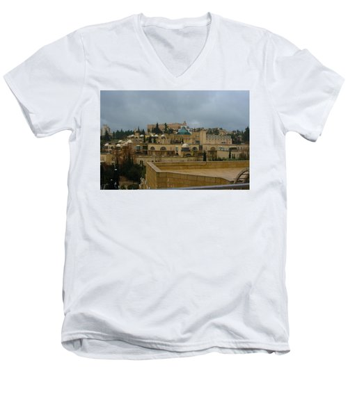Men's V-Neck T-Shirt featuring the photograph Early Morning In Jerusalem by Doc Braham