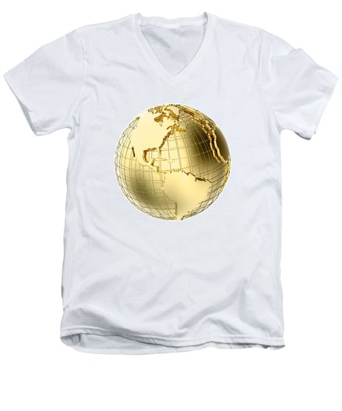 Earth In Gold Metal Isolated On White Men's V-Neck T-Shirt by Johan Swanepoel