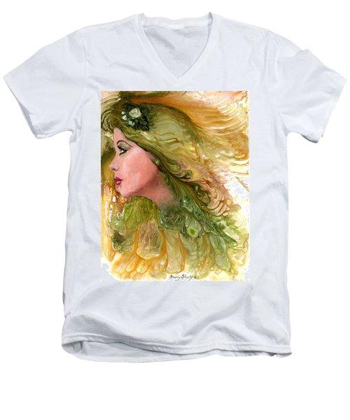 Earth Maiden Men's V-Neck T-Shirt by Sherry Shipley