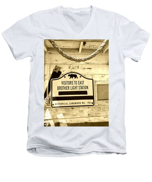East Brother Light Station Visitor Sign Men's V-Neck T-Shirt