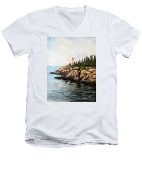 Men's V-Neck T-Shirt featuring the painting East Quoddy Head Light by Lee Piper