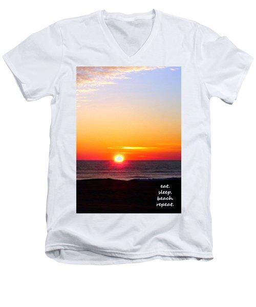 East. Sleep. Beach Sunrise Men's V-Neck T-Shirt