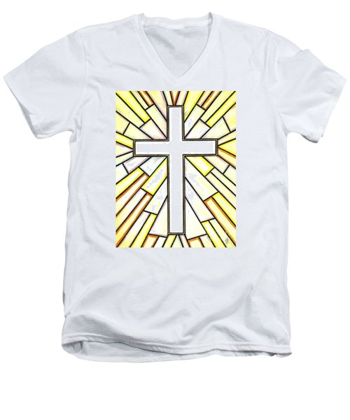 Men's V-Neck T-Shirt featuring the painting Easter Cross 3 by Jim Harris