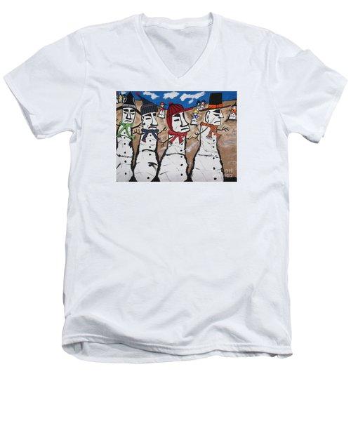 Easter Island Snow Men Men's V-Neck T-Shirt by Jeffrey Koss