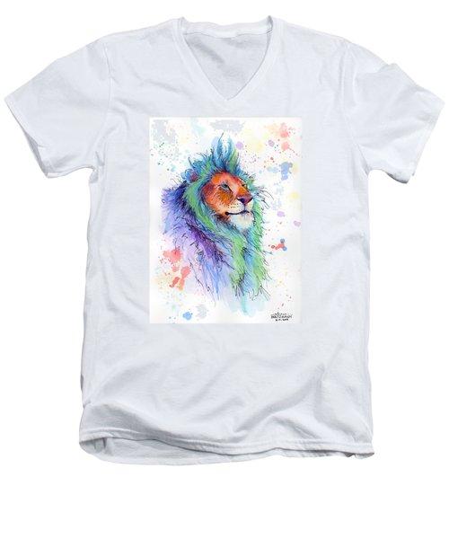 Easter Lion Men's V-Neck T-Shirt by Arleana Holtzmann