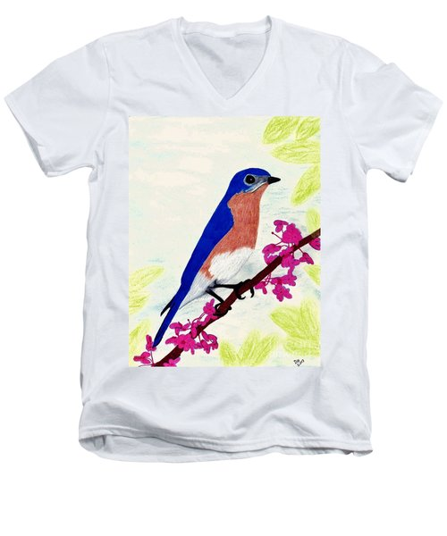 Men's V-Neck T-Shirt featuring the drawing Florida - Eastern - Blue Bird by D Hackett