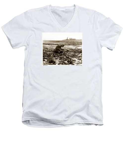 Ed Ricketts At Point Wilson Lighthouse In Port Townsend Wa 1930 Men's V-Neck T-Shirt