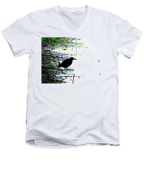 Edgar Allan Poe's Raven On The Edge Of Oblivion By Ron Tackett Men's V-Neck T-Shirt