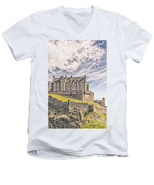 Edinburgh Castle Painting Men's V-Neck T-Shirt