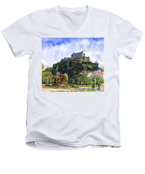Edinburgh Castle Scotland Men's V-Neck T-Shirt