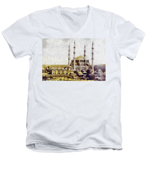 Edirne Turkey Old Town Men's V-Neck T-Shirt by Georgi Dimitrov