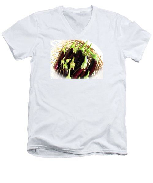 Men's V-Neck T-Shirt featuring the photograph Eggplants In A Basket by Tina M Wenger