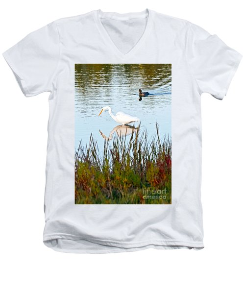 Men's V-Neck T-Shirt featuring the photograph Egret And Coot In Autumn by Kate Brown