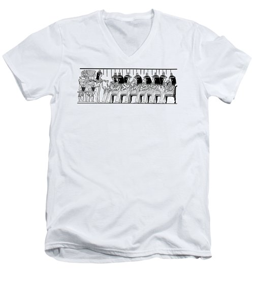 Egyptian Ladies 1886 Drawing Men's V-Neck T-Shirt by Phil Cardamone