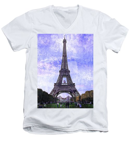 Eiffel Tower Paris Men's V-Neck T-Shirt by Kathy Churchman