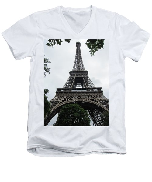 Men's V-Neck T-Shirt featuring the photograph Eiffel Tower by Pema Hou
