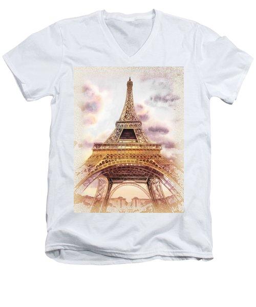 Eiffel Tower Vintage Art Men's V-Neck T-Shirt by Irina Sztukowski