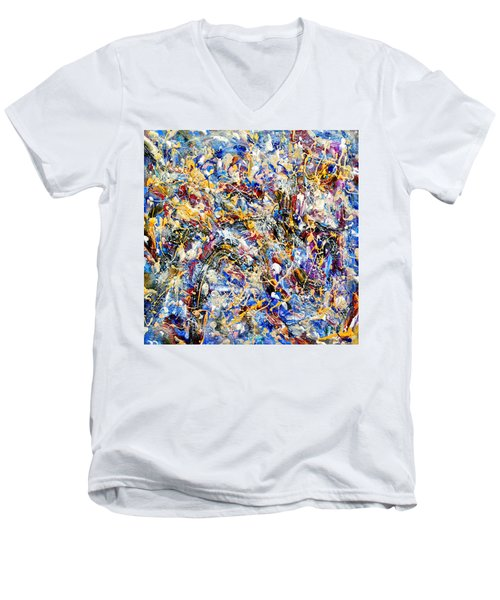Men's V-Neck T-Shirt featuring the painting Eldorado by Dominic Piperata