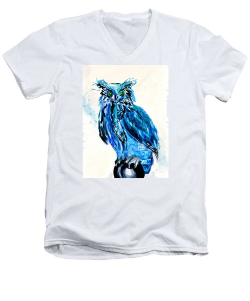 Electric Blue Owl Men's V-Neck T-Shirt by Beverley Harper Tinsley