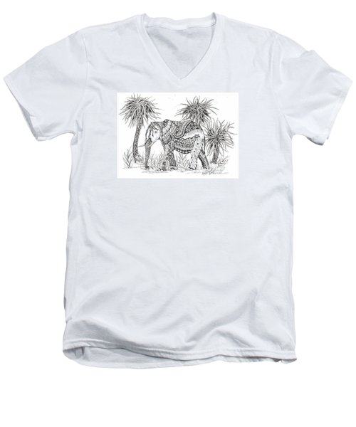 Elephant And Trees Zentangled Men's V-Neck T-Shirt