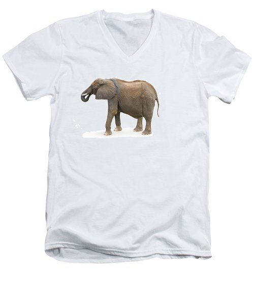 Men's V-Neck T-Shirt featuring the photograph Elephant by Charles Beeler