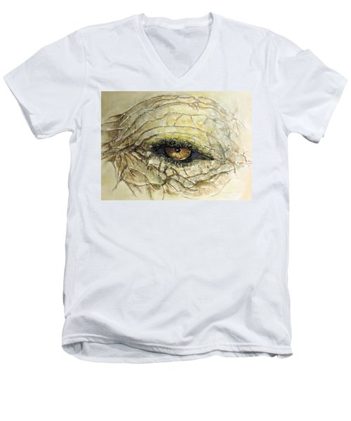 Elephant Eye Men's V-Neck T-Shirt by Bernadette Krupa