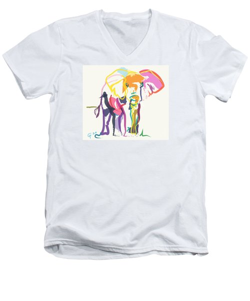 Men's V-Neck T-Shirt featuring the painting Elephant In Color Ecru by Go Van Kampen