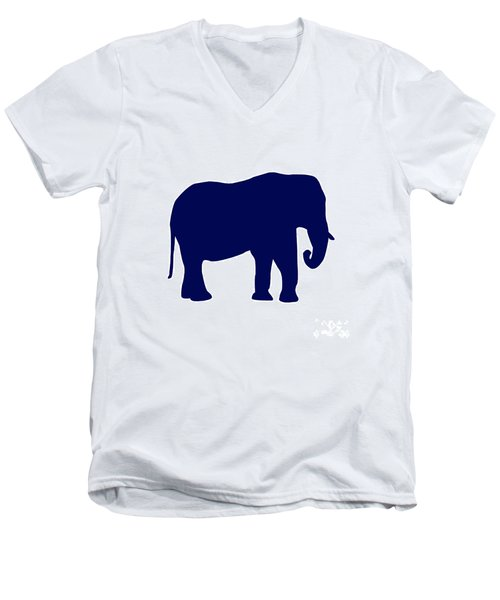 Elephant In Navy And White Men's V-Neck T-Shirt
