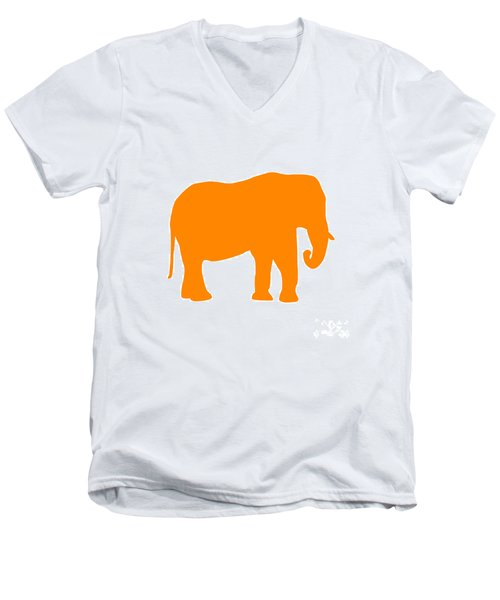 Elephant In Orange And White Men's V-Neck T-Shirt