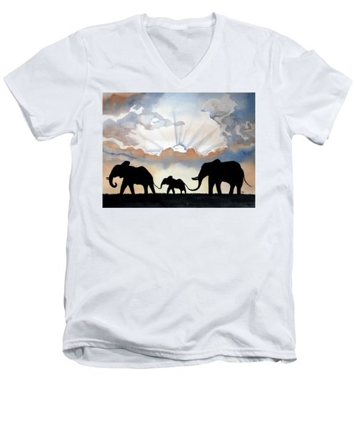 Elephants Men's V-Neck T-Shirt