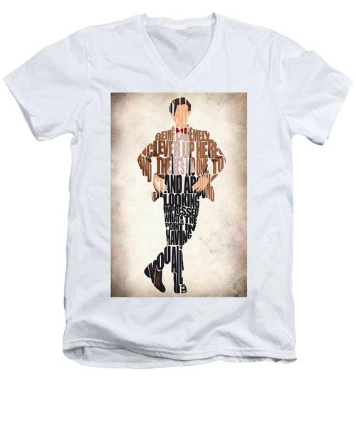 Eleventh Doctor - Doctor Who Men's V-Neck T-Shirt by Ayse Deniz