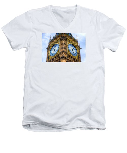 Men's V-Neck T-Shirt featuring the photograph Elizabeth Tower Clock by Tim Stanley