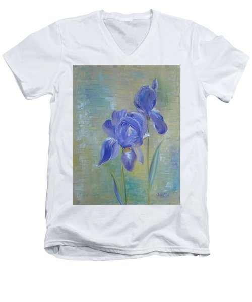 Elizabeth's Irises Men's V-Neck T-Shirt by Judith Rhue
