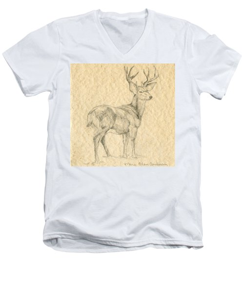 Men's V-Neck T-Shirt featuring the drawing Elk by Mary Ellen Anderson