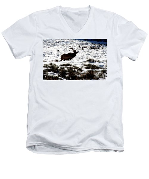 Men's V-Neck T-Shirt featuring the photograph Elk Silhouette by Sharon Elliott