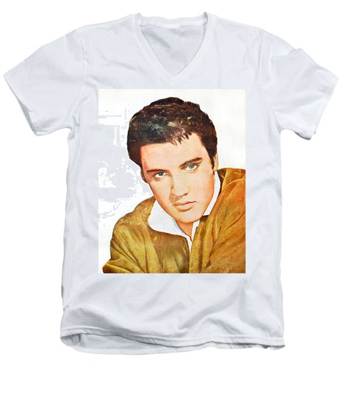 Elvis Colored Portrait Men's V-Neck T-Shirt
