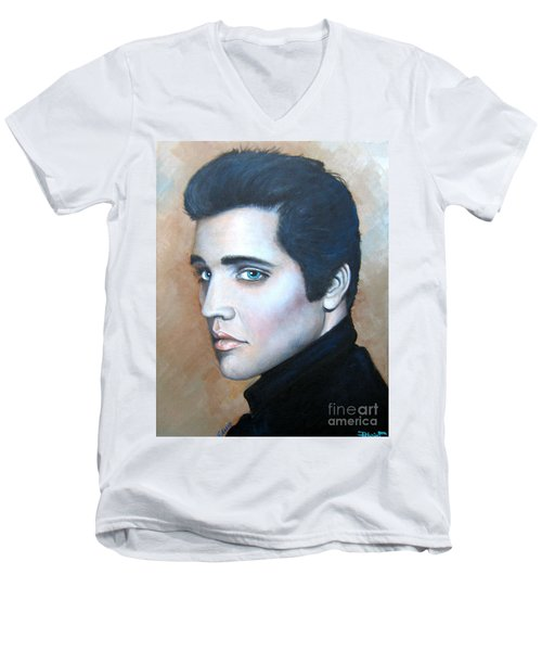 Men's V-Neck T-Shirt featuring the painting Elvis by Patrice Torrillo