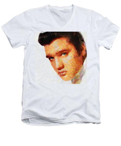 Elvis Presley The King Of Rock Music Men's V-Neck T-Shirt by Georgi Dimitrov