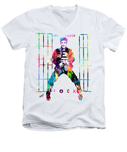 Elvis Presley Jail House Rock Men's V-Neck T-Shirt