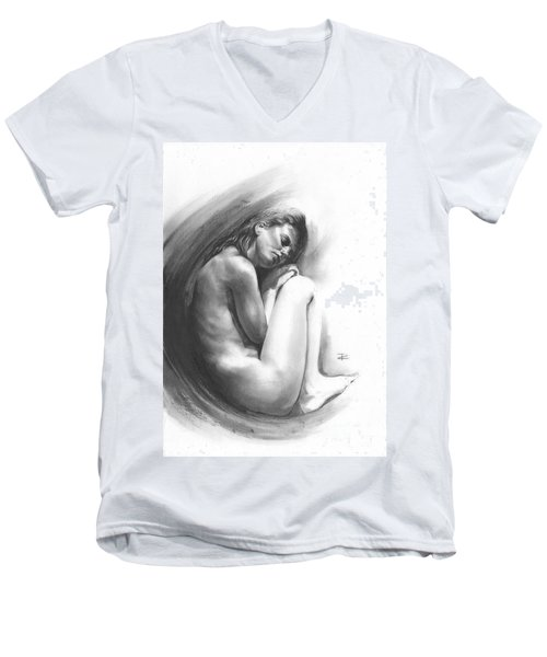 Men's V-Neck T-Shirt featuring the drawing Embryonic 1 by Paul Davenport