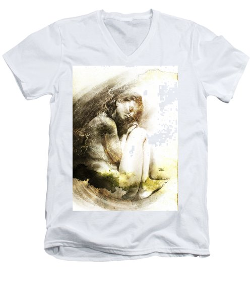 Men's V-Neck T-Shirt featuring the drawing Embryonic Drawing Textured by Paul Davenport